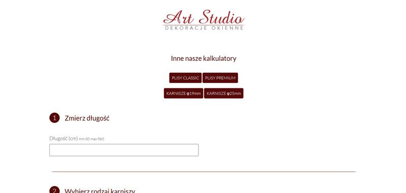 Realizacja - art studio - kalkulator rolet