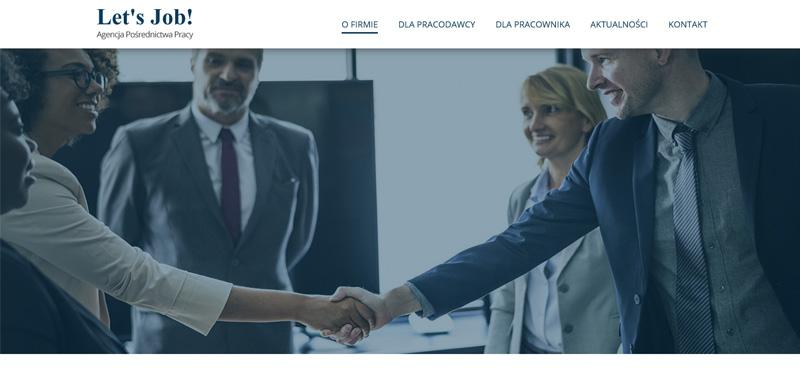 Realizacja - Let's Job! stronę internetowa przedstawiającą opis oraz ofertę firmy.