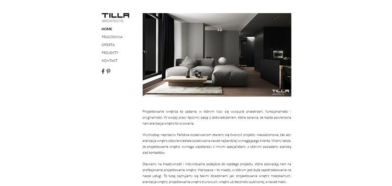 Realizacja - Tilla Architects - strona www